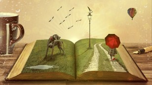 a digital image of a book open on a desk next to a cup of coffee. It's like a pop up book as inside is a grassy path with a 3D dog, girl walking and lamp post.