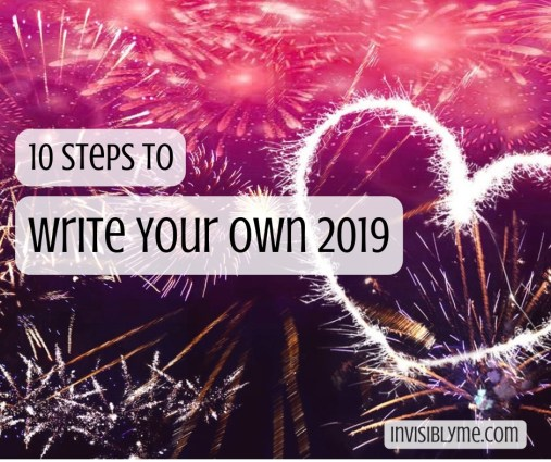 A dark pink background with lots of fireworks and a lit up firework heart. Overlaid is the title: 10 steps to write your own 2020.