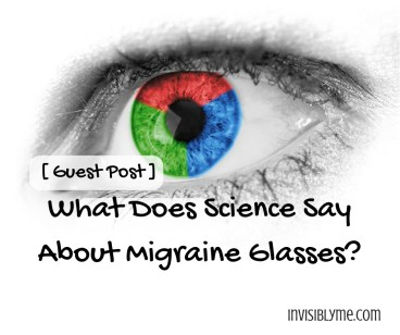 A close up of an eye with a  multicoloured iris in green, red and blue. The post title is underneath : What does science say about migraine glasses?