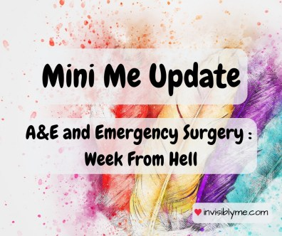 A watercolour feather background. Overlaid is the title: Mini me update A&E and emergency surgery, the week from hell.