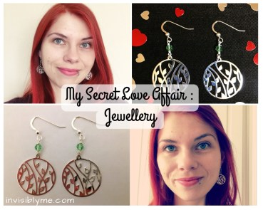 A collage of four images, two of the flower earrings and two of me wearing them. In the middle is the post title : My Secret Love Affair - Jewellery.