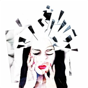 A cartoon style image of a woman as though in a broken mirror reflection, with shards of the mirror cracking at the top.