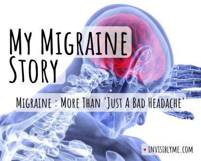 "A digital image of a scan, showing the upper part of the body with the neck and head visible as they hold a hand to their forehead. We see a blue outline and x-ray bones, with a red brain. The post title is overlaid - ""My migraine story"". Followed by ""Migraine : more than just a bad headache""."