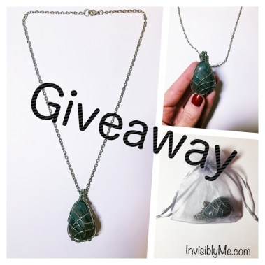 A collage of three photographs of the necklace, with the word 'giveaway' across the centre.