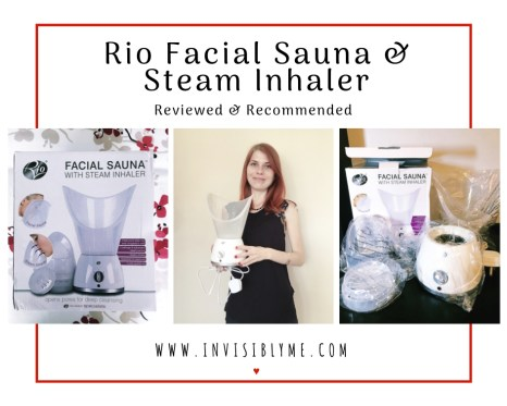 """A trio of photos of the facial sauna with a red box outline around them. Above is : """"Rio Facial Sauna & Steam Inhaler Reviewed & Recommended""""."""