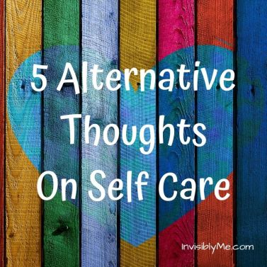 A wooden plank background in multi-colour, with a blue-tone heart in the middle. The post title is in white in the middle: 5 alternative thoughts on self-care.
