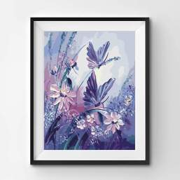 A butterfly painting in purple tones, framed on a wall.