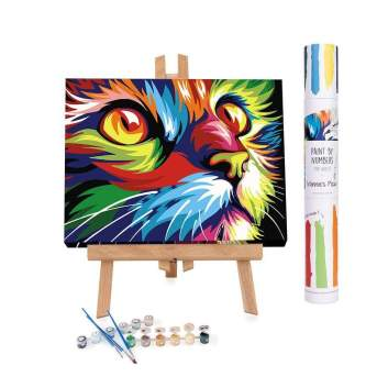 A multi-coloured cat painting, sat on a mini easel with the paints underneath.