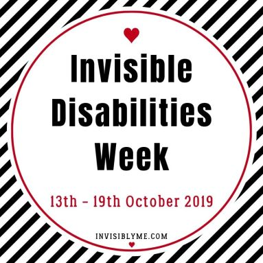 "A black and white diagonal striped background, with a circle inside it. Within this is : ""Invisible Disabilities Week 13th - 19th October 2019""."