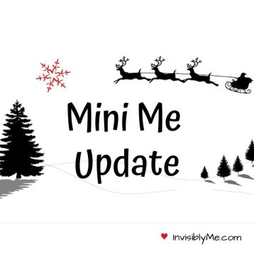 """A black and white cartoon image of fir trees and flying reindeer. """"Mini me update"""" is written in black in the middle."""