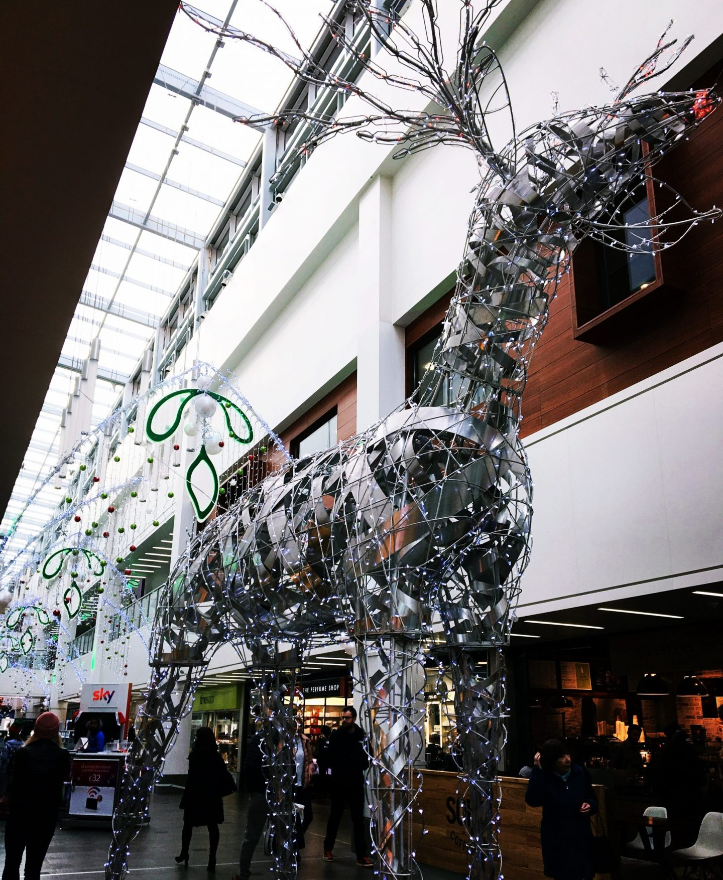 A large, maybe 15ft metal wire reindeer.