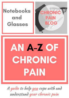 The A-Z of Chronic Pain book cover, which shows the title, the 'Notebooks and Glasses' text and 'chronic pain blog' at the top, and the book title underneath. The colour scheme is mainly white, coral and grey.