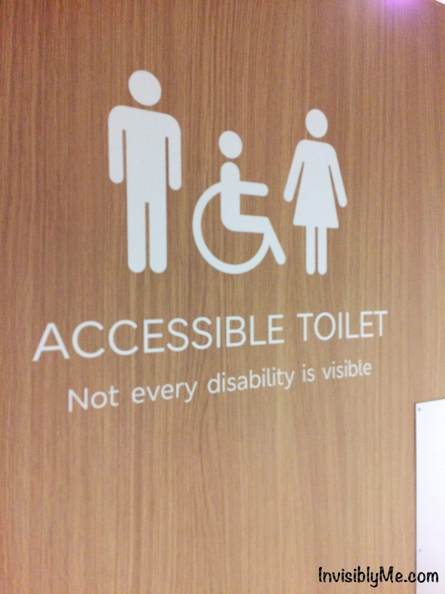 A photo of a public toilet with three figure icons: man, woman and a wheelchair. Underneath it says : 'Accessible toilet. Not every disability is visible'.
