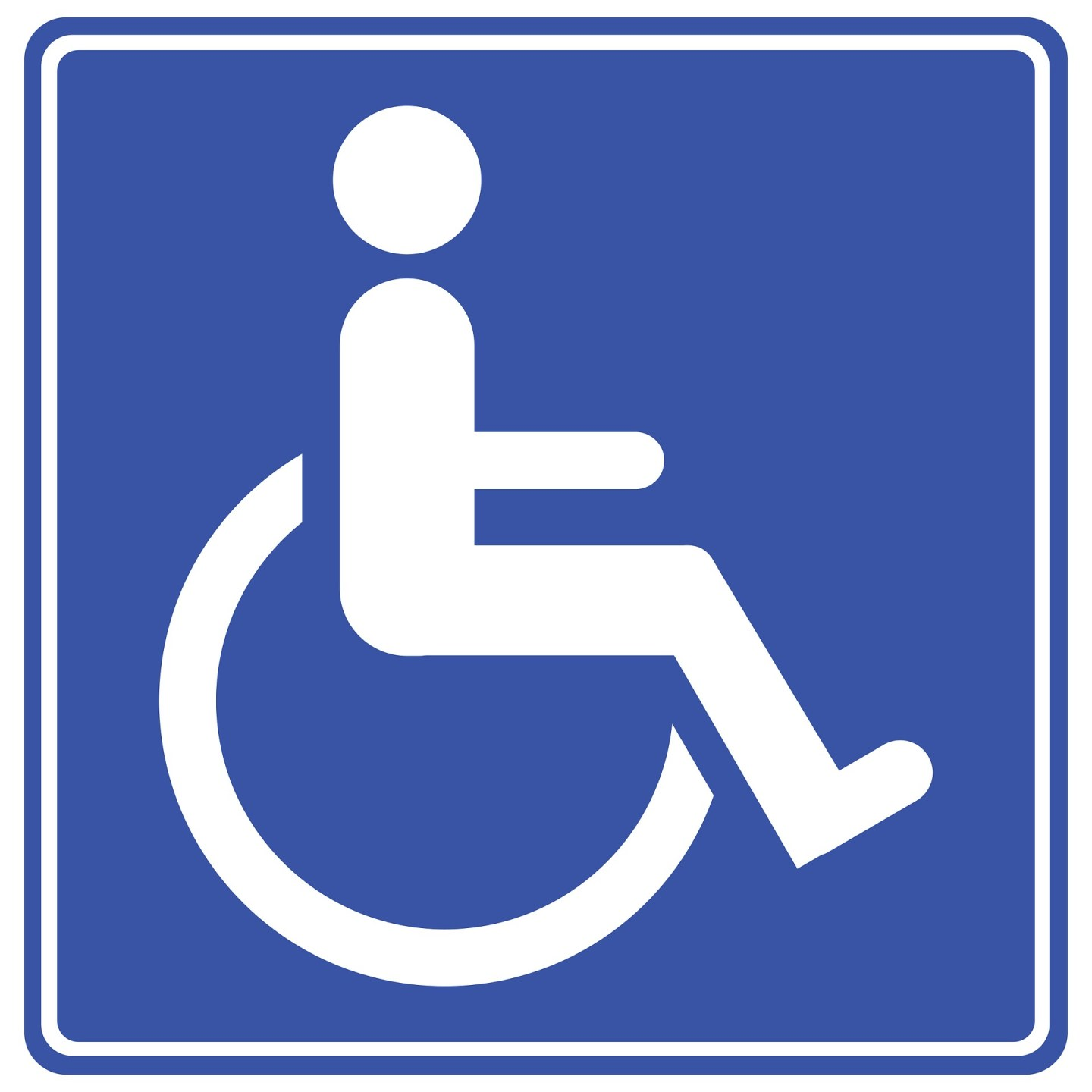 A blue square with the person in a wheelchair disability icon in white.