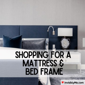 An image of a bed with blue headboard and lamp to the right. The post title is overlaid on the image.