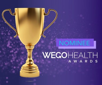 A purple background with a gold trophy to the left. This is the 'nominee' badge for the Wego Health Awards.