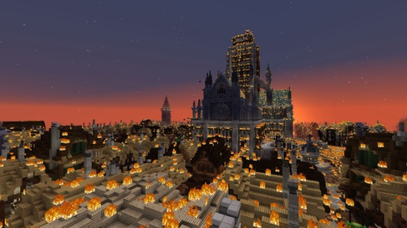 St Paul's and the City of London on fire - actual game footage. To mark the 350th anniversary of the Great Fire of London in 1666, the Museum of London has created Great Fire 1666, an exciting virtual experience using Minecraft. Great Fire 1666 will be made up of three Minecraft maps which will offer a unique and immersive perspective on the Great Fire of London. These maps have been created in collaboration with Digital Producer Adam Clarke, mapbuilders Blockworks and game designer Dragnoz. This image may be used to promote or review the Museum of London's Great Fire Project. All other uses must be cleared with the Museum of London.