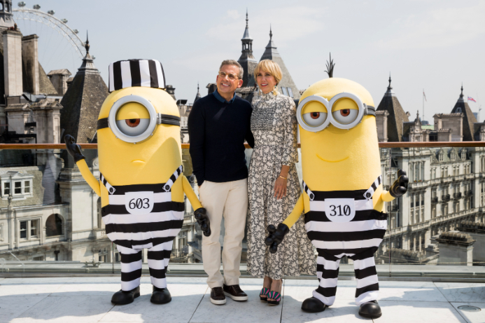 LONDON, ENGLAND - JUNE 21: Steve Carell, Kristen Wiig and the Minions attend a photo call in London to celebrate the release of DESPICABLE ME 3 on June 30th at Corinthia Hotel London on June 21, 2017 in London, England. (Photo by Tristan Fewings/Getty Images for Universal Pictures UK) *** Local Caption *** Steve Carell; Kristen Wiig