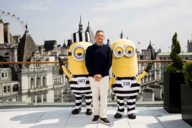 LONDON, ENGLAND - JUNE 21: Steve Carell and the Minions attend a photo call in London to celebrate the release of DESPICABLE ME 3 on June 30th at Corinthia Hotel London on June 21, 2017 in London, England. (Photo by Tristan Fewings/Getty Images for Universal Pictures UK) *** Local Caption *** Steve Carell