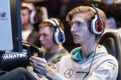 Esports driver Daniel Bereznay of team Mercedes-AMG Petronas competes in the F1 New Balance Esports Series