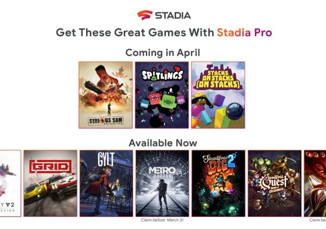 Stadia Pro-April Games