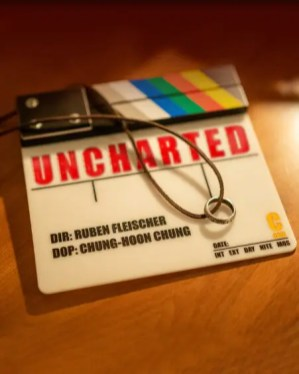 A clapboard on the set of Columbia Pictures' UNCHARTED.