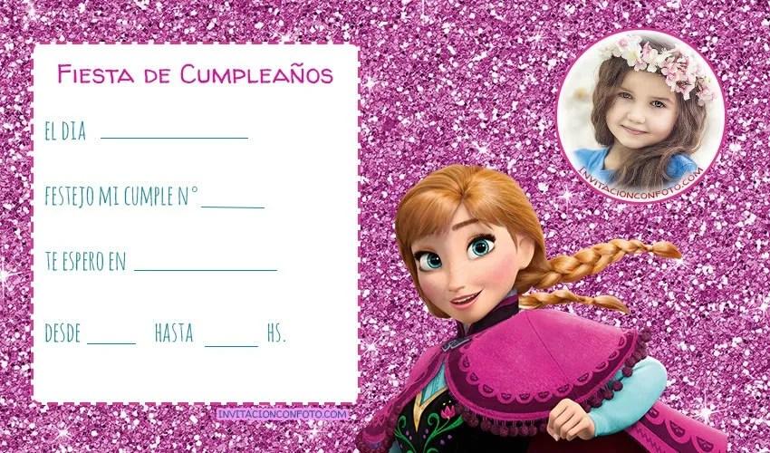 Tarjetas de Frozen con foto para editar