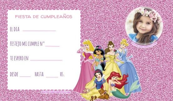 Convite princesas disney con foto