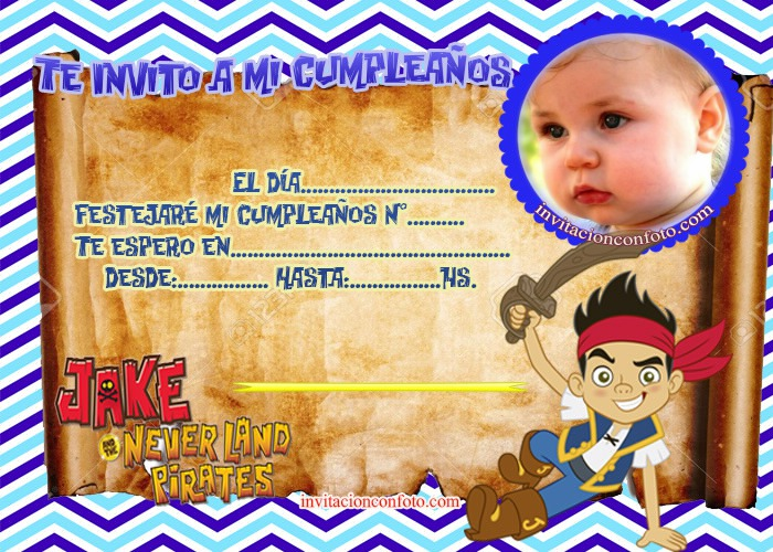Invitación De Cumpleaños Jake Y Los Piratas Con Foto
