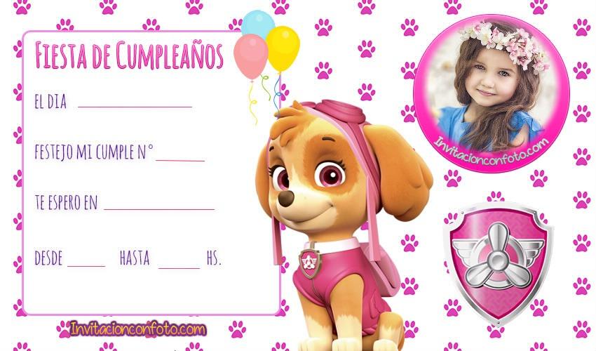Invitacion De Cumpleanos Skye Paw Patrol Con Foto Invitaciones De Cumpleaños Infantiles Con Foto