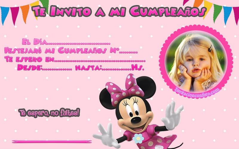Tarjetas Cumpleaños Minnie Con Foto Invitaciones De