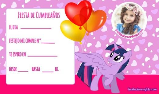My little pony - invitaciones con foto