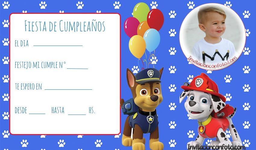 Invitacion De Cumpleanos De Paw Patrol Con Foto