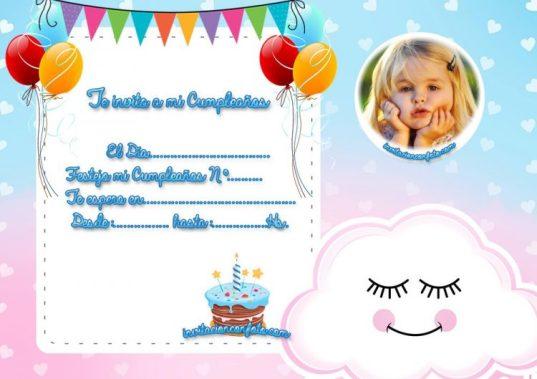 Invitación De Cumpleaños De Nube Para Niña Y Niño Con Foto