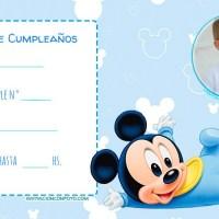 Invitaciones de Cumpleanos de Mickey bebe con Foto