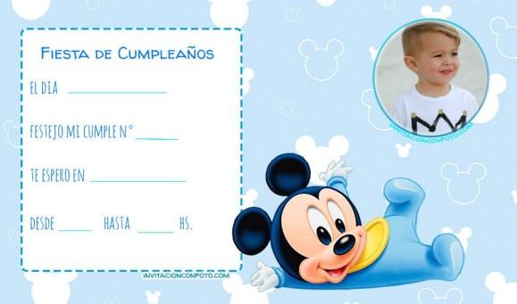 Mickey bebe primer anito invitaciones de cumpleanos