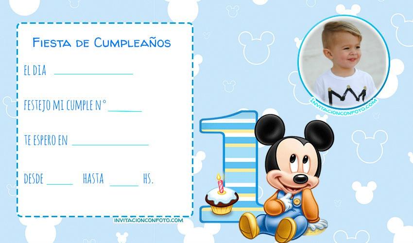 Mickey bebe primer anito invitaciones cumpleanos infantiles