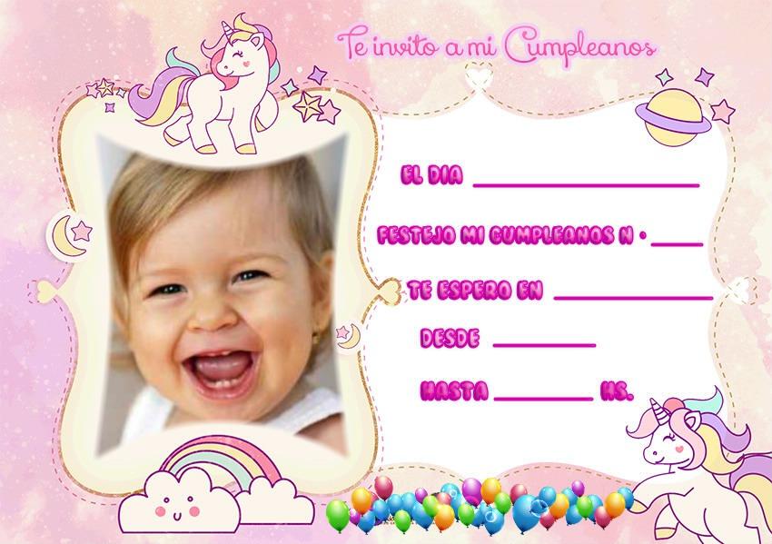 invitaciones de unicornios con foto - tarjetas de unicornios con foto