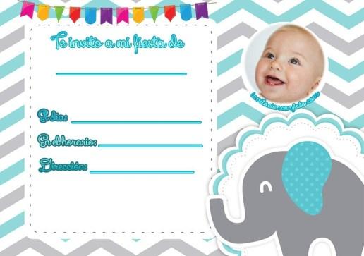 Invitaciones para bebes con animalitos - invitaciones elefantes fondos celestes