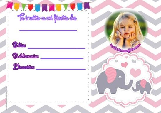 Invitaciones para bebes con animalitos - invitaciones invitaciones con elefantes fondo rosas