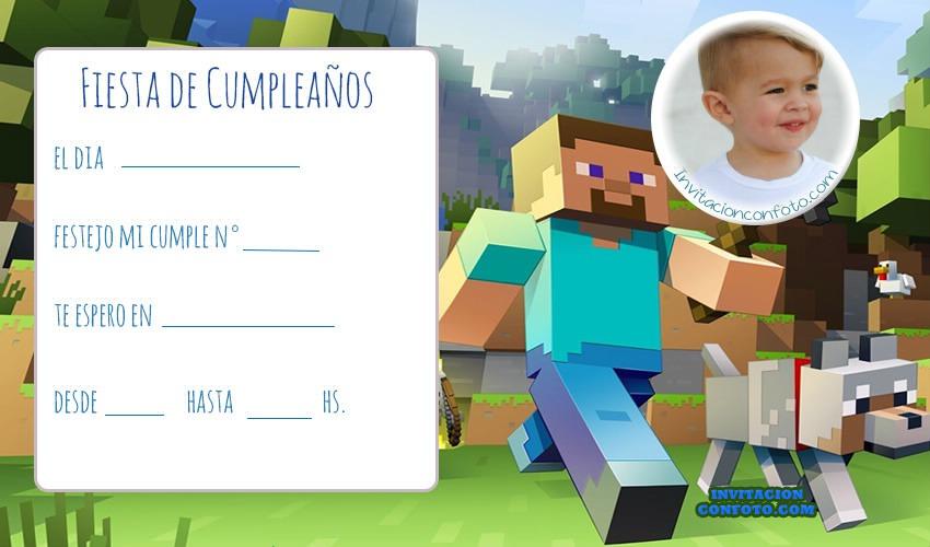 Invitación De Cumpleaños De Minecraft Con Foto