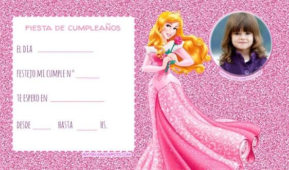 Princesa Aurora Invitaciones cumpleanos bella durmiente