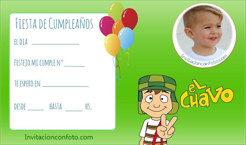 Invitaciones De Cumpleaños Chavo Del 8 Animado Con Foto