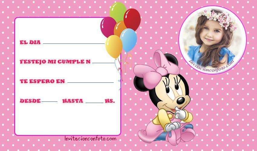 Invitaciones De Cumpleanos De Minnie Bebe Con Foto
