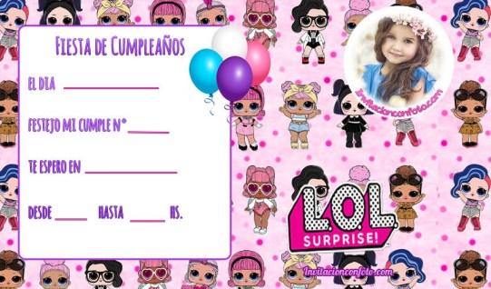 Invitacion de Cumpleanos de LOL Suprise con Foto - tarjetas de Cumpleanos LOL munecas