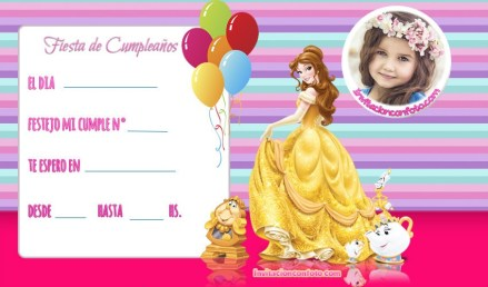invitaciones bella princesa para cumpleanos