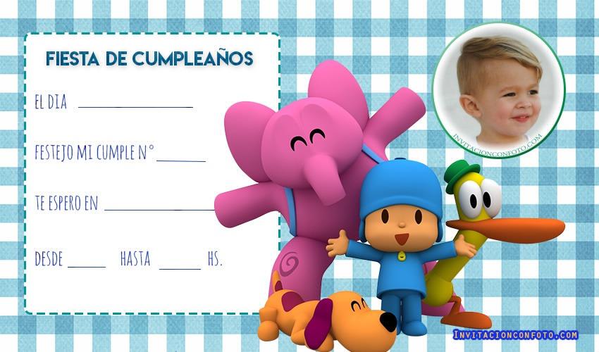 Invitaciones De Cumpleanos De Pocoyo Con Foto Invitaciones