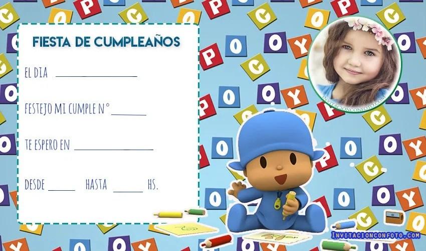 invitaciones de cumpleanos con foto - tarjetas de pocoyo cumpleanos fiesta