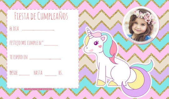 Invitaciones cumpleanos con unicornios- tarjetas cumpleanos unicornios con foto