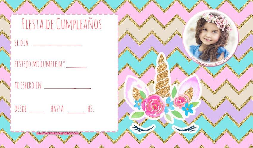 Invitaciones De Cumpleanos Unicornios Con Foto